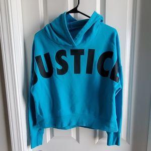Blue justice crop sweater